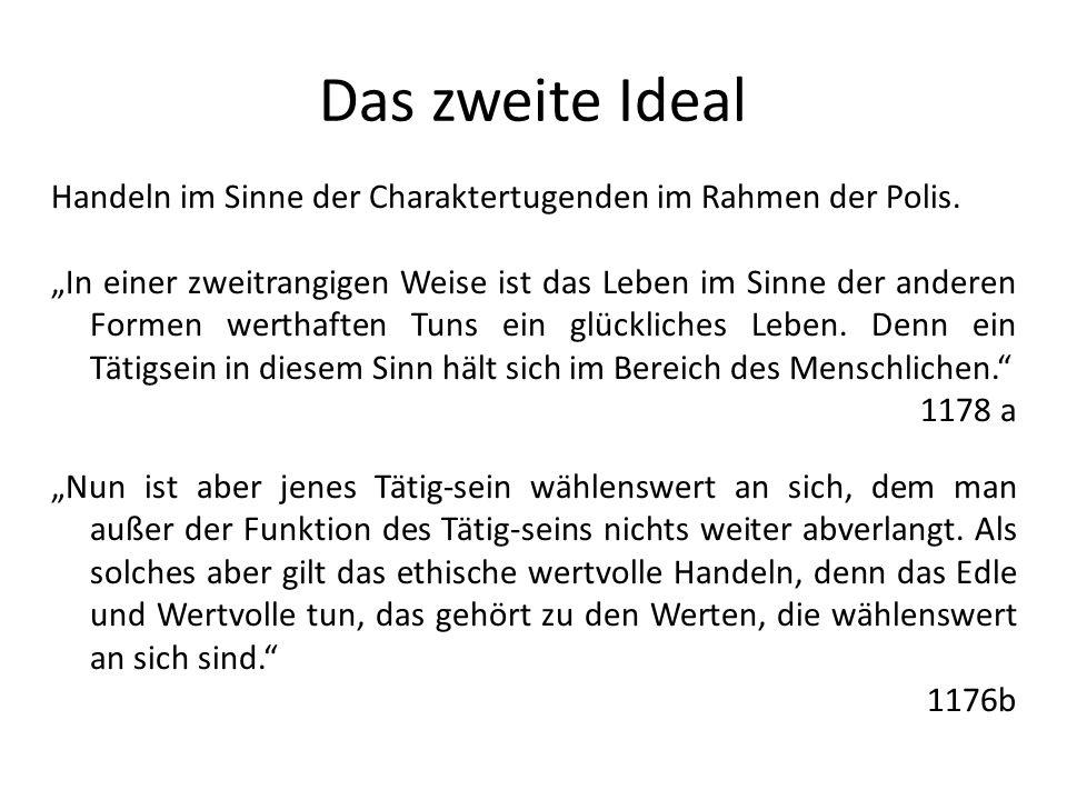 Das zweite Ideal Handeln im Sinne der Charaktertugenden im Rahmen der Polis.