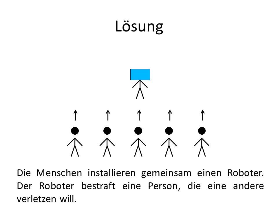 Lösung Die Menschen installieren gemeinsam einen Roboter.