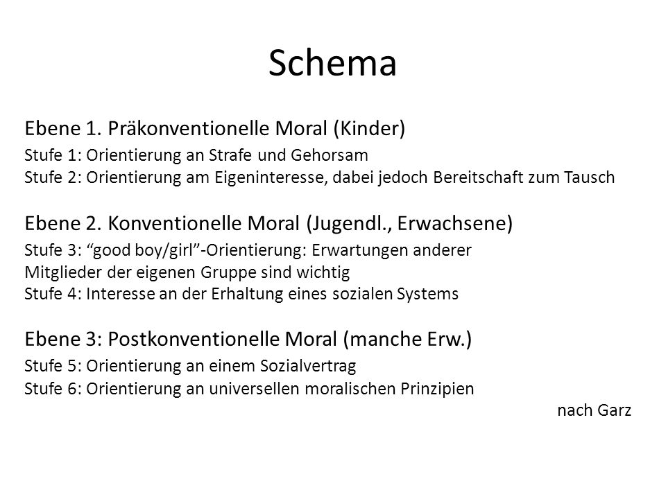 Schema Ebene 1. Präkonventionelle Moral (Kinder)