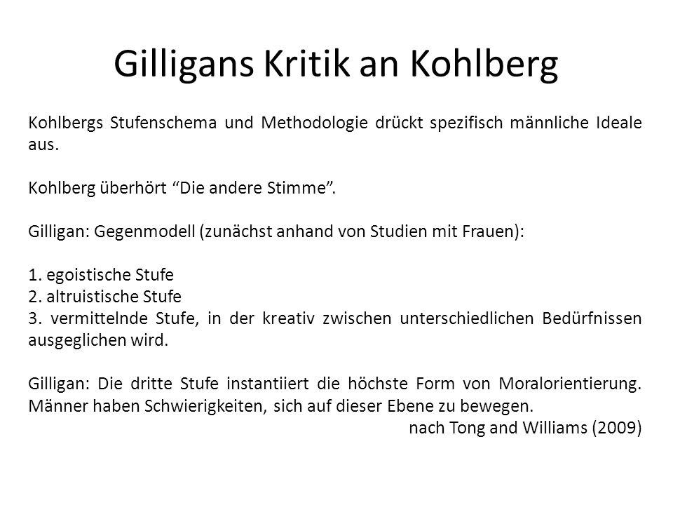 Gilligans Kritik an Kohlberg