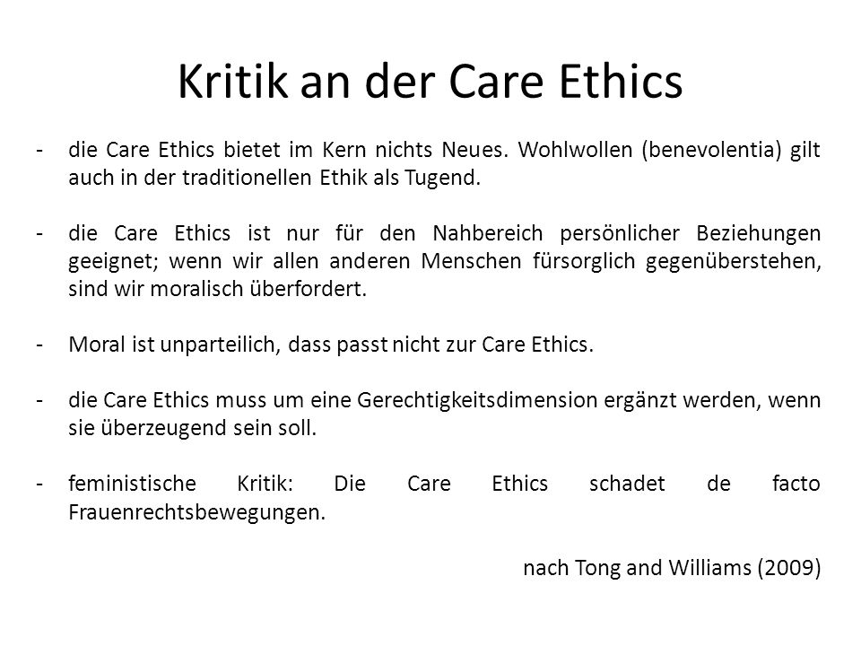 Kritik an der Care Ethics