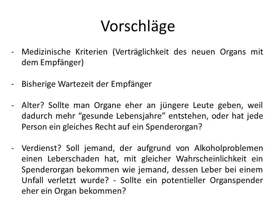 Vorschläge Medizinische Kriterien (Verträglichkeit des neuen Organs mit dem Empfänger) Bisherige Wartezeit der Empfänger.