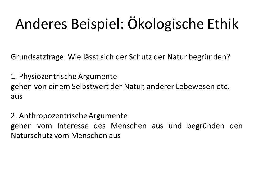 Anderes Beispiel: Ökologische Ethik