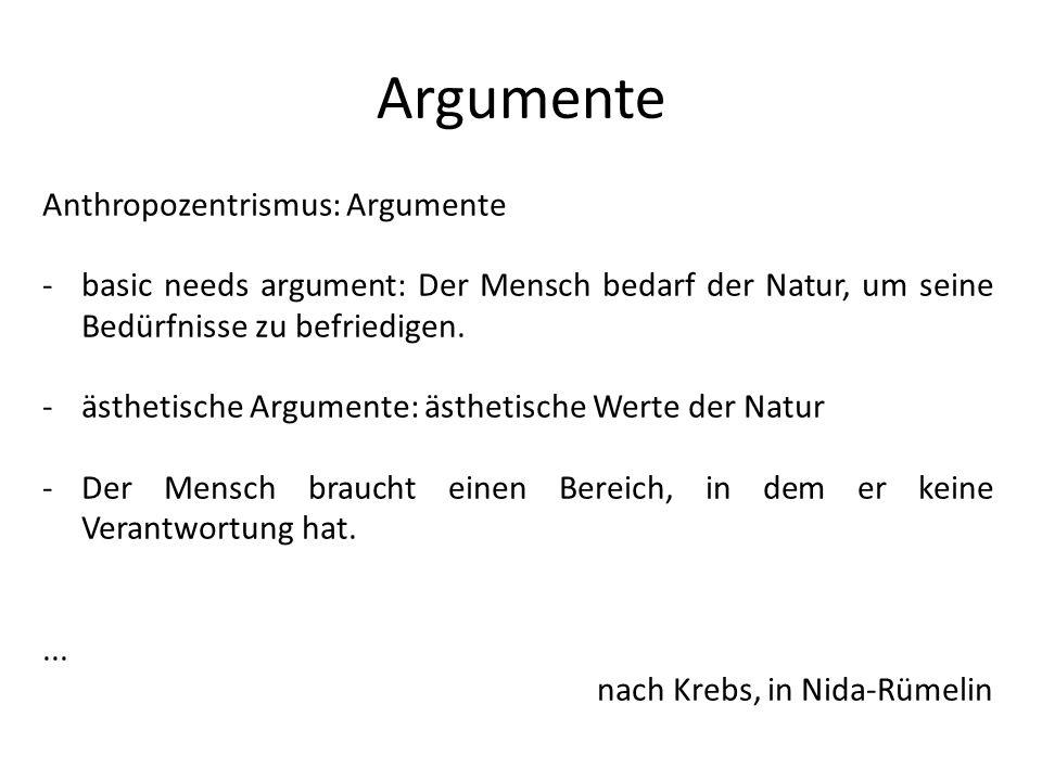 Argumente Anthropozentrismus: Argumente