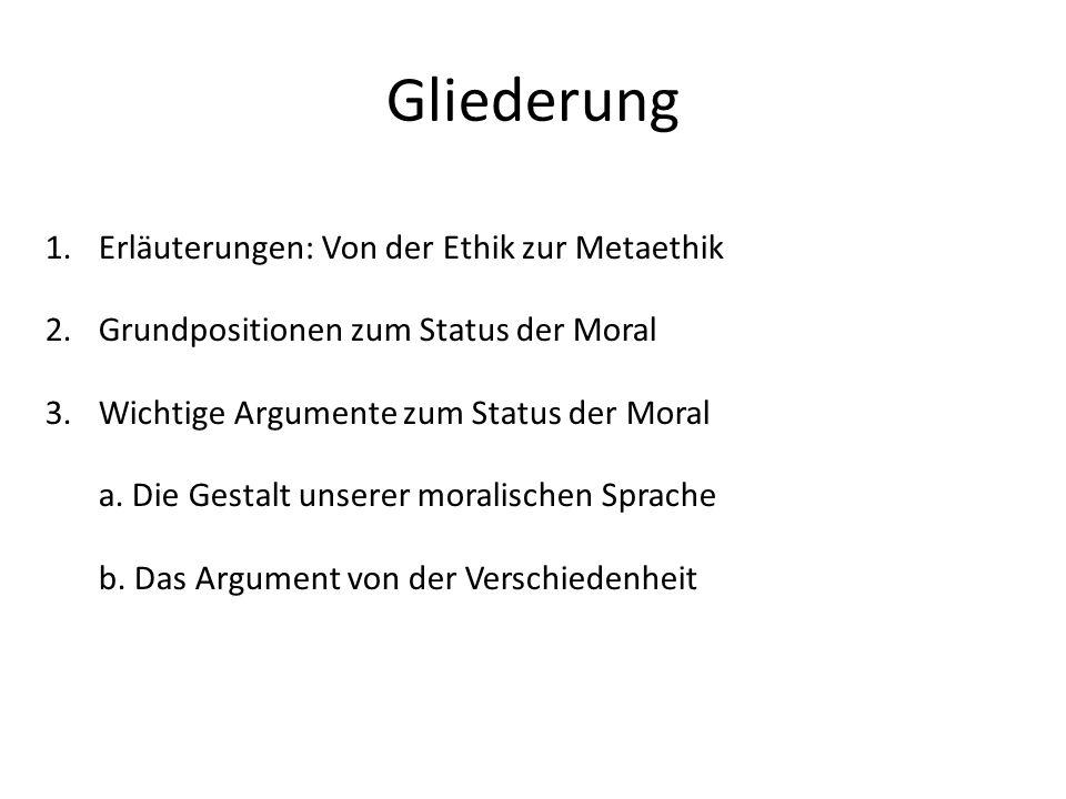 Gliederung Erläuterungen: Von der Ethik zur Metaethik