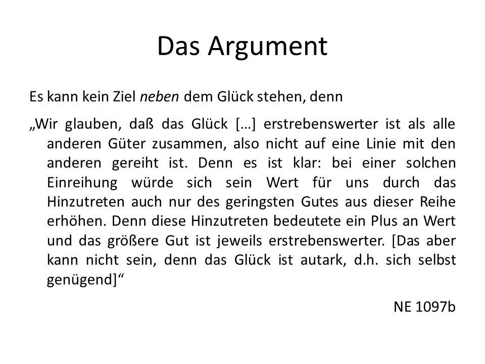 Das Argument Es kann kein Ziel neben dem Glück stehen, denn