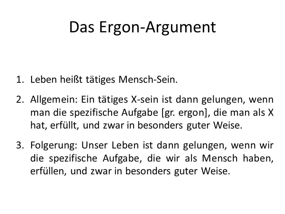 Das Ergon-Argument Leben heißt tätiges Mensch-Sein.