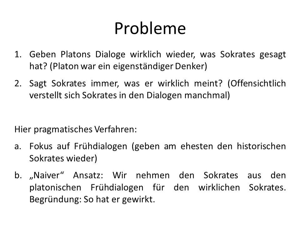 Probleme Geben Platons Dialoge wirklich wieder, was Sokrates gesagt hat (Platon war ein eigenständiger Denker)