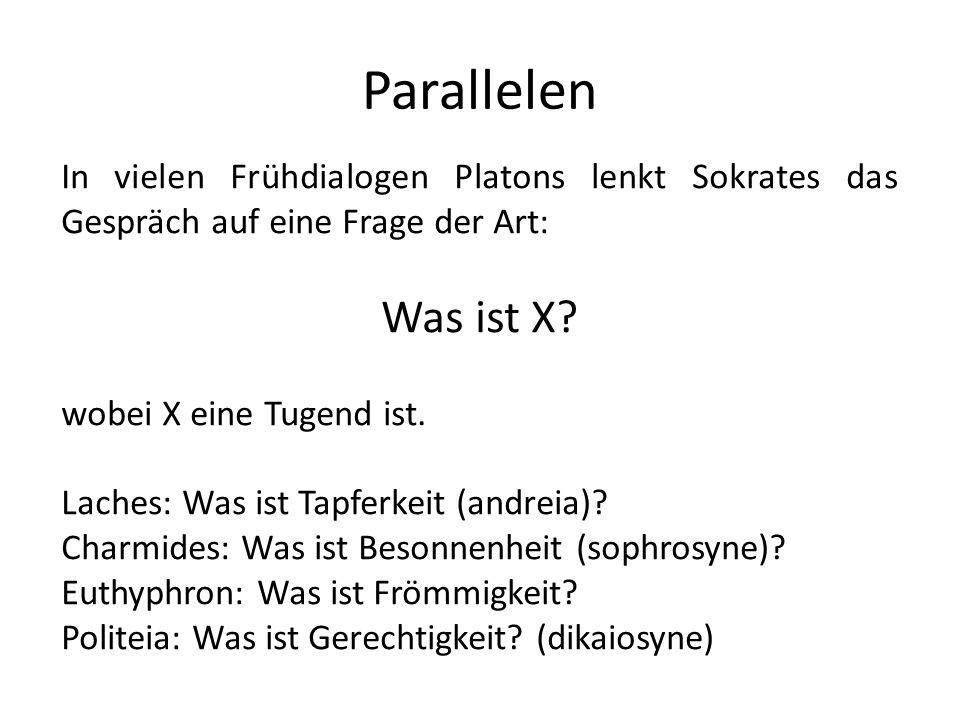 Parallelen In vielen Frühdialogen Platons lenkt Sokrates das Gespräch auf eine Frage der Art: Was ist X