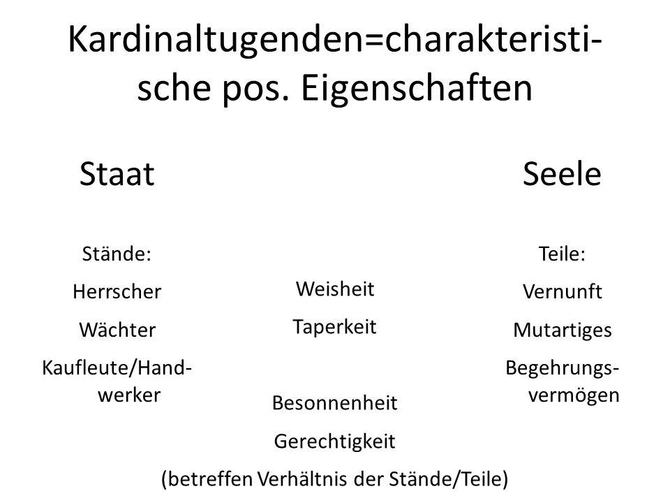 Kardinaltugenden=charakteristi-sche pos. Eigenschaften