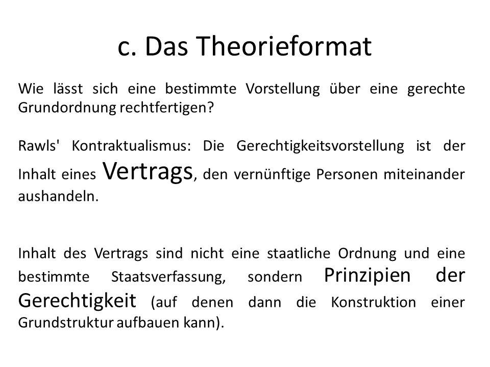c. Das Theorieformat Wie lässt sich eine bestimmte Vorstellung über eine gerechte Grundordnung rechtfertigen