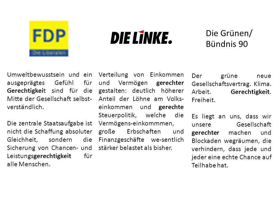Die Grünen/ Bündnis 90. Umweltbewusstsein und ein ausgeprägtes Gefühl für Gerechtigkeit sind für die Mitte der Gesellschaft selbst-verständlich.