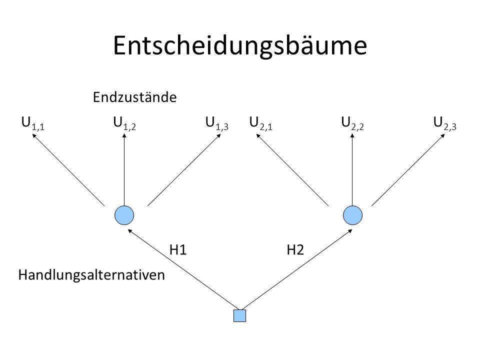 Entscheidungsbäume Endzustände U1,1 U1,2 U1,3 U2,1 U2,2 U2,3 H1 H2