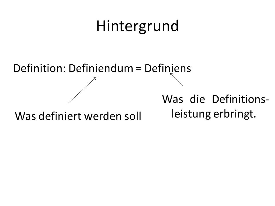 Hintergrund Definition: Definiendum = Definiens