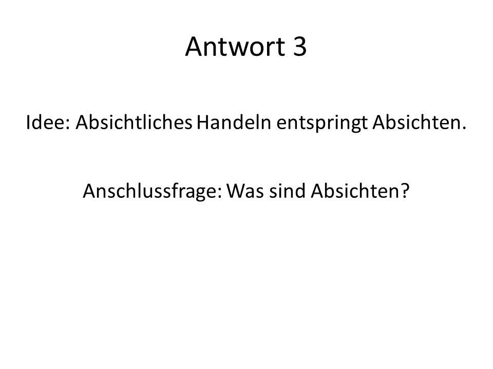 Antwort 3 Idee: Absichtliches Handeln entspringt Absichten.