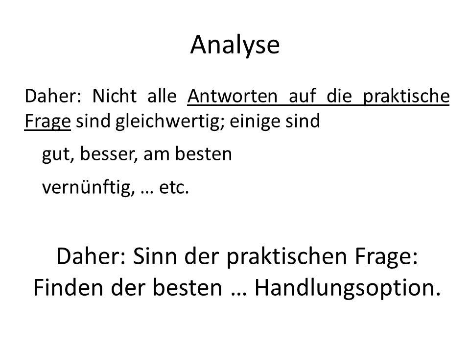 Analyse Daher: Nicht alle Antworten auf die praktische Frage sind gleichwertig; einige sind. gut, besser, am besten.