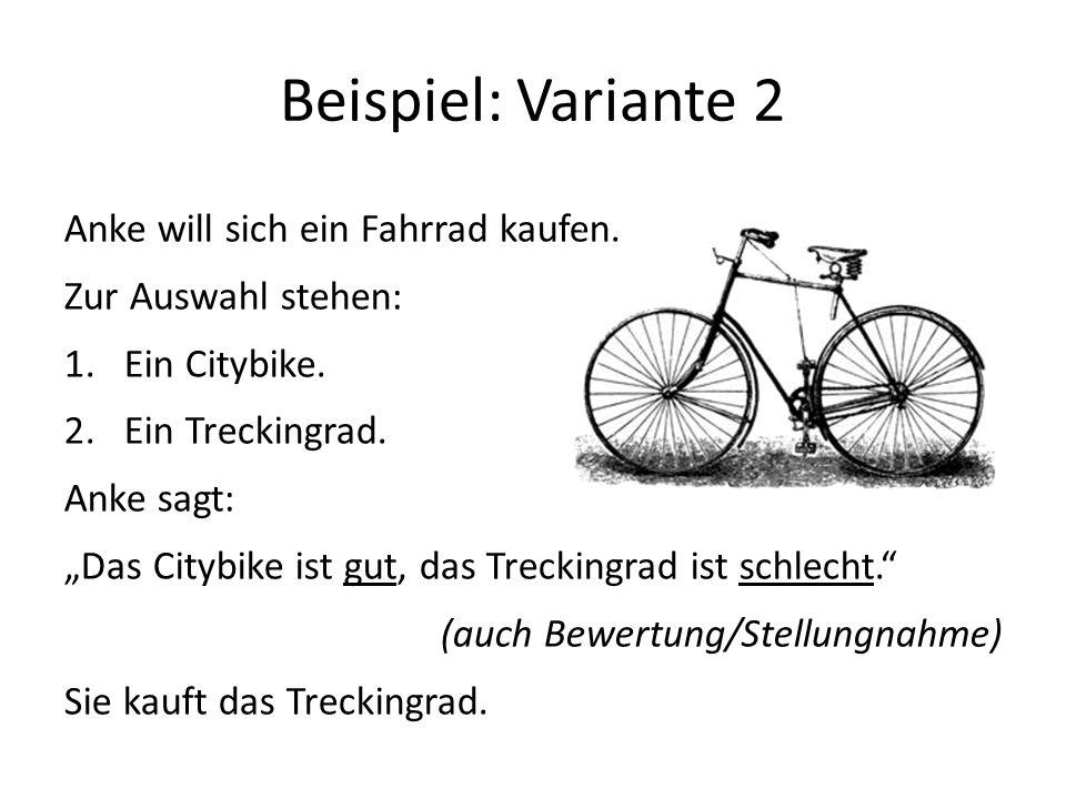 Beispiel: Variante 2 Anke will sich ein Fahrrad kaufen.
