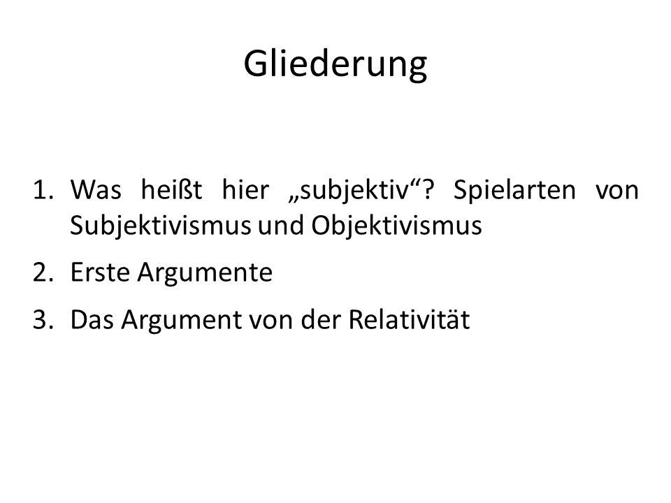 """Gliederung Was heißt hier """"subjektiv Spielarten von Subjektivismus und Objektivismus. Erste Argumente."""