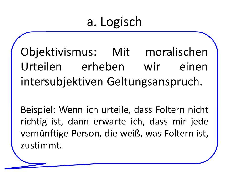 a. Logisch Objektivismus: Mit moralischen Urteilen erheben wir einen intersubjektiven Geltungsanspruch.