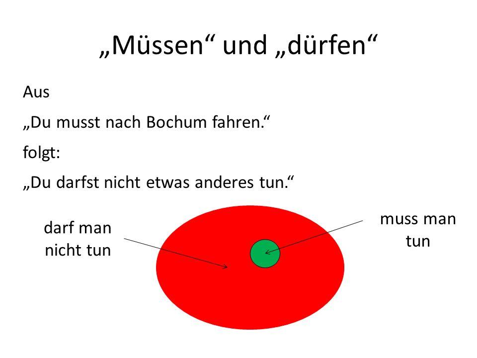 """""""Müssen und """"dürfen Aus """"Du musst nach Bochum fahren. folgt:"""