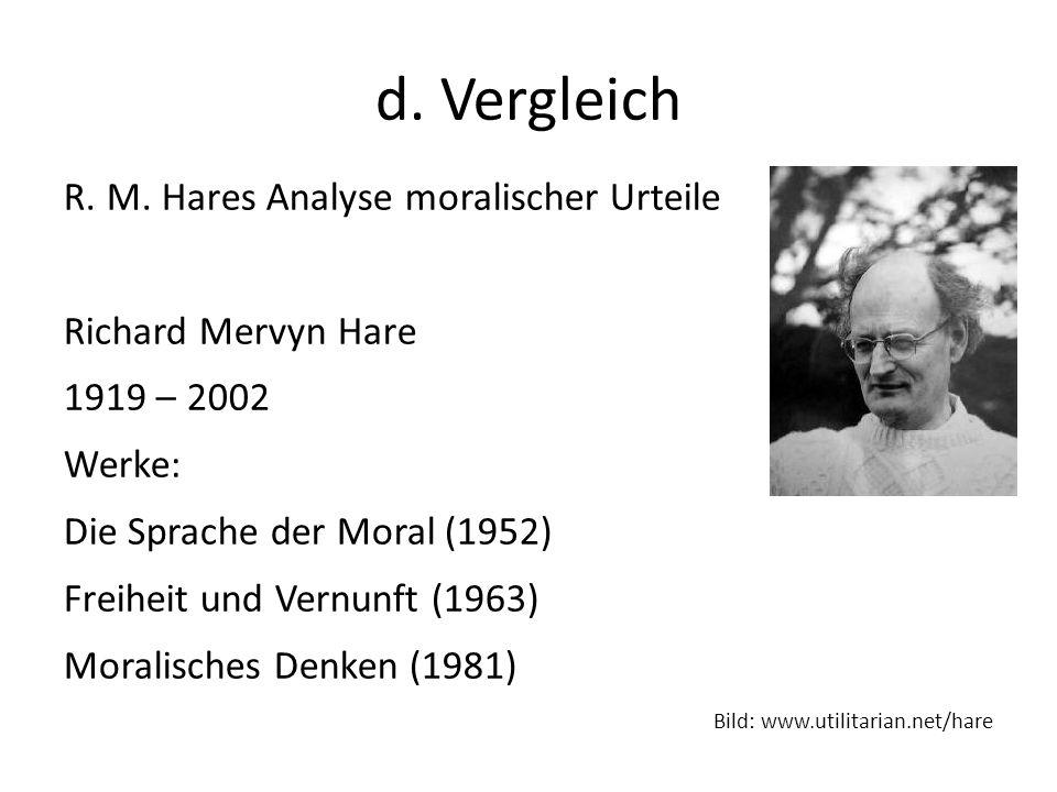 d. Vergleich R. M. Hares Analyse moralischer Urteile