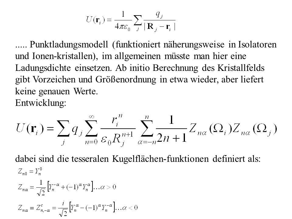 ..... Punktladungsmodell (funktioniert näherungsweise in Isolatoren und Ionen-kristallen), im allgemeinen müsste man hier eine Ladungsdichte einsetzen. Ab initio Berechnung des Kristallfelds gibt Vorzeichen und Größenordnung in etwa wieder, aber liefert keine genauen Werte.