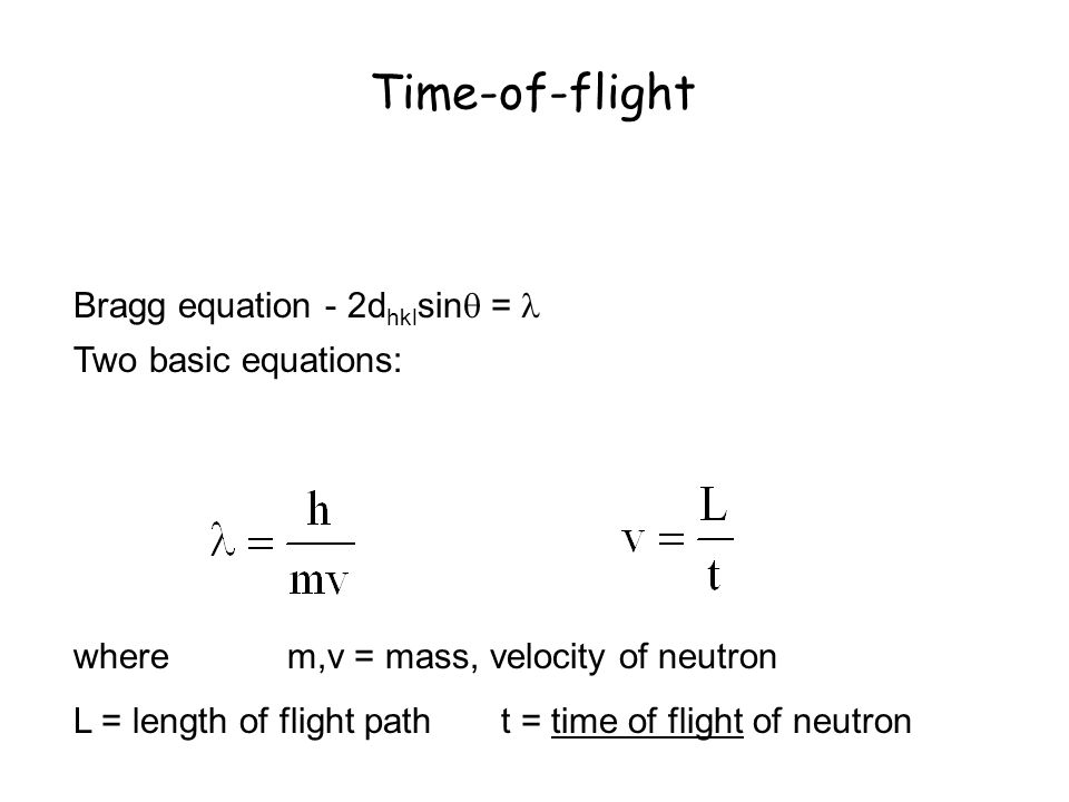 Time-of-flight Bragg equation - 2dhklsin =  Two basic equations:
