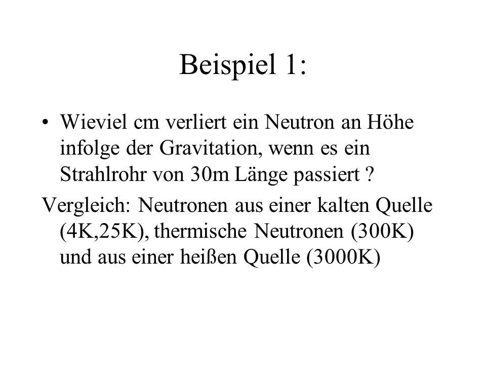 Beispiel 1: Wieviel cm verliert ein Neutron an Höhe infolge der Gravitation, wenn es ein Strahlrohr von 30m Länge passiert