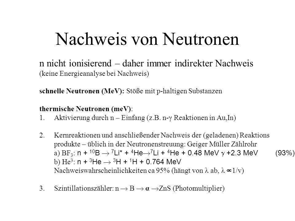 Nachweis von Neutronen