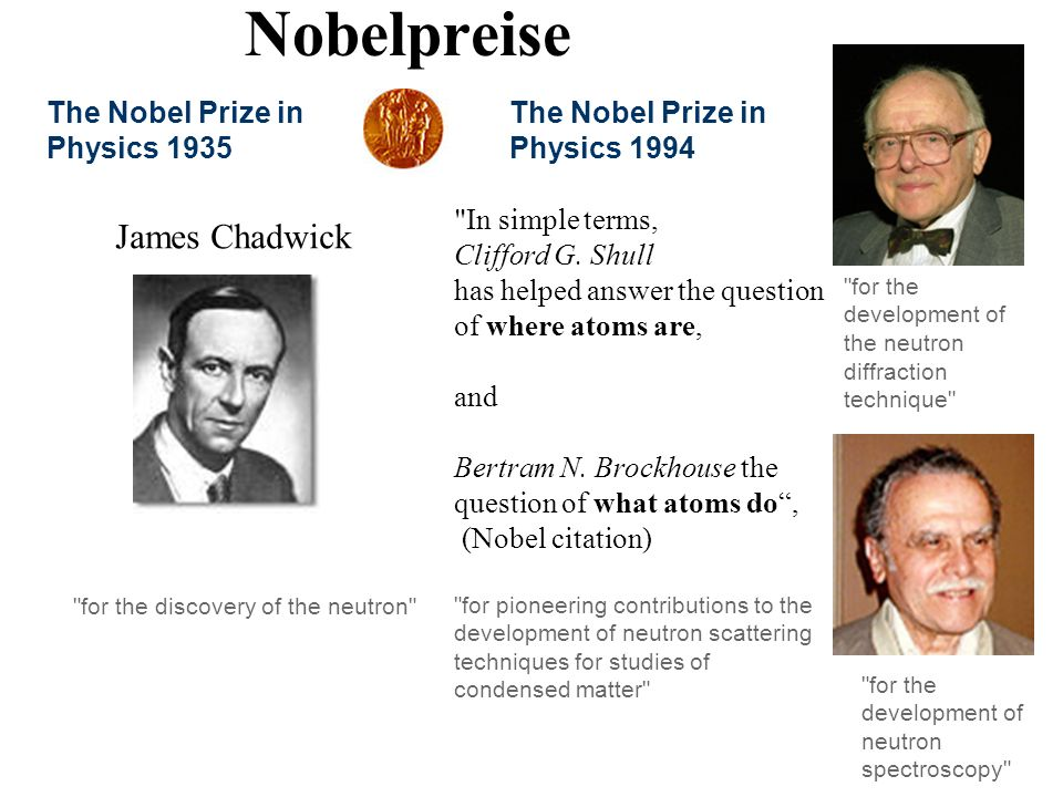 Nobelpreise James Chadwick The Nobel Prize in Physics 1935