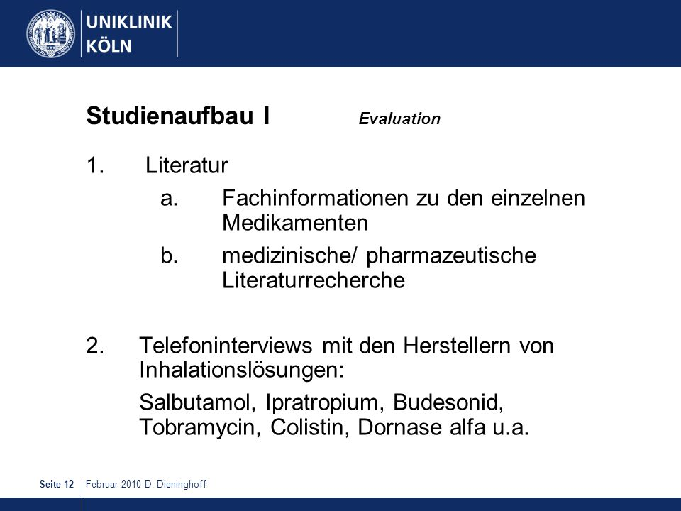 Studienaufbau I Evaluation