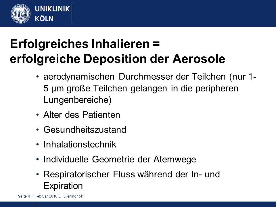 Erfolgreiches Inhalieren = erfolgreiche Deposition der Aerosole