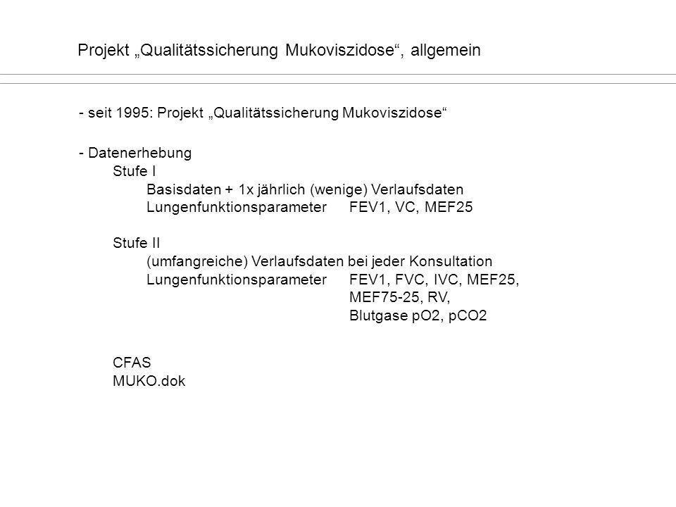 """Projekt """"Qualitätssicherung Mukoviszidose , allgemein"""