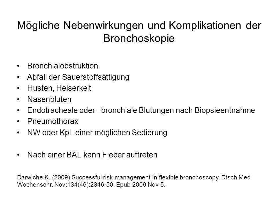 Mögliche Nebenwirkungen und Komplikationen der Bronchoskopie