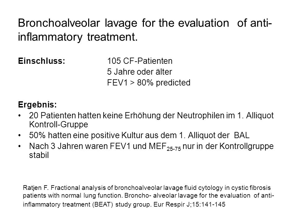 Bronchoalveolar lavage for the evaluation of anti-inflammatory treatment.