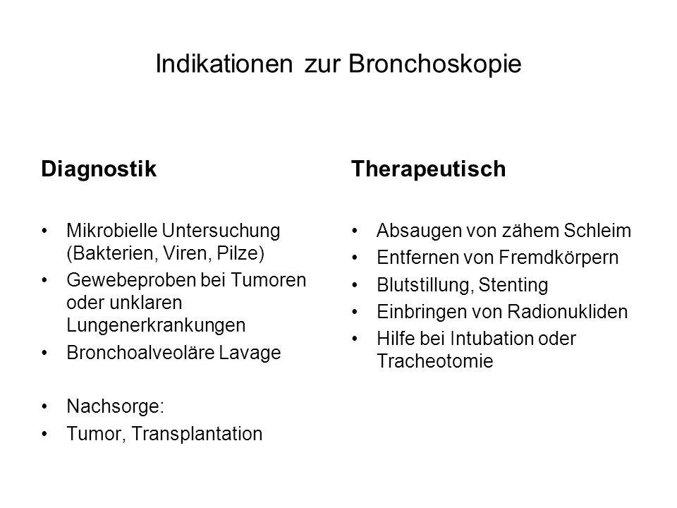 Indikationen zur Bronchoskopie