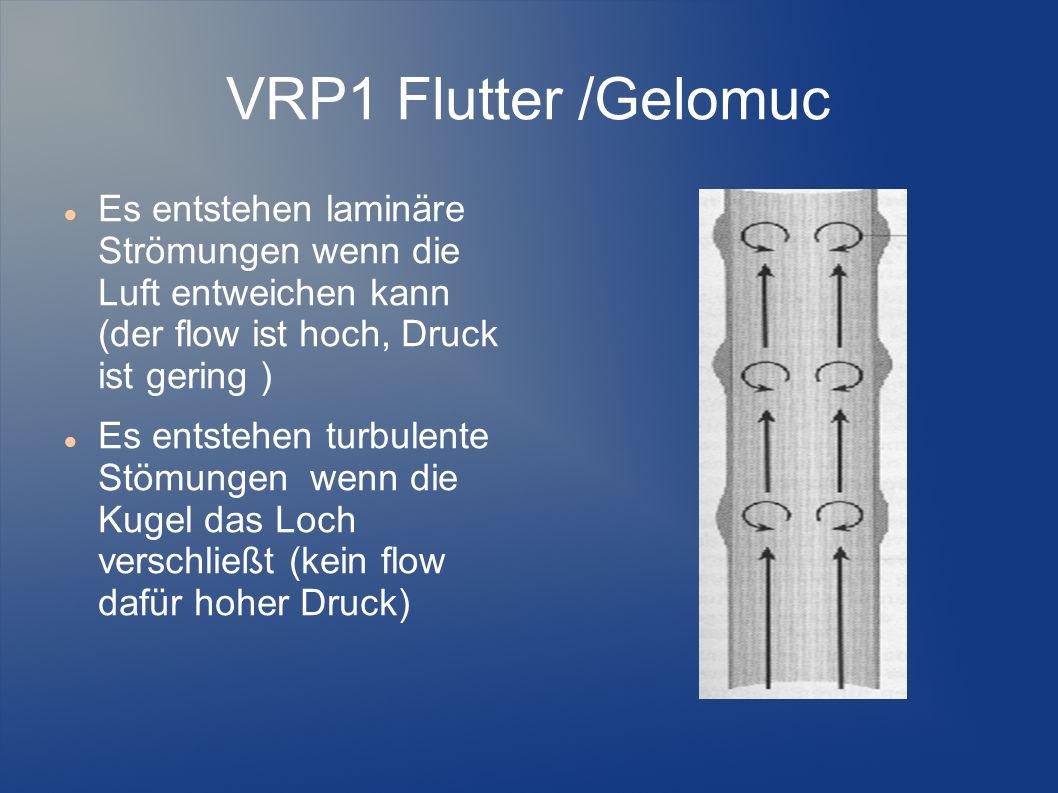 VRP1 Flutter /Gelomuc Es entstehen laminäre Strömungen wenn die Luft entweichen kann (der flow ist hoch, Druck ist gering )