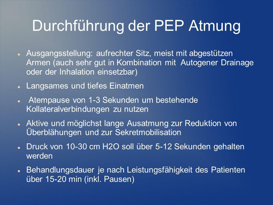 Durchführung der PEP Atmung
