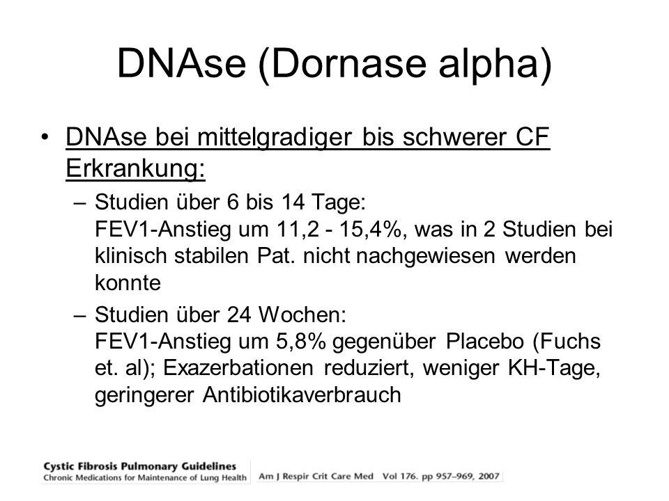 DNAse (Dornase alpha) DNAse bei mittelgradiger bis schwerer CF Erkrankung: