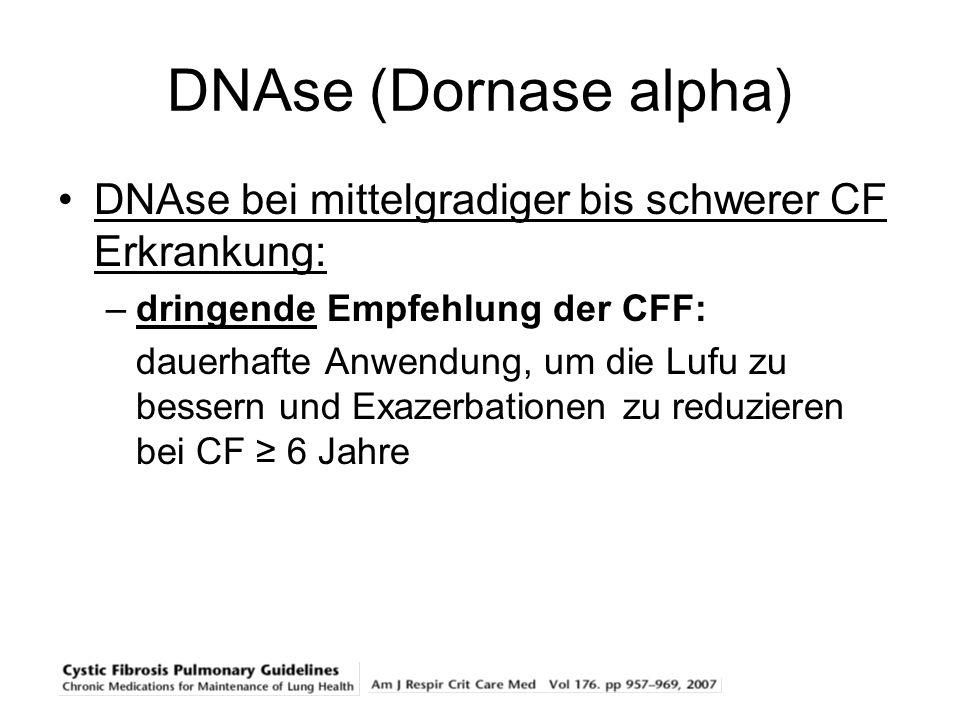 DNAse (Dornase alpha) DNAse bei mittelgradiger bis schwerer CF Erkrankung: dringende Empfehlung der CFF: