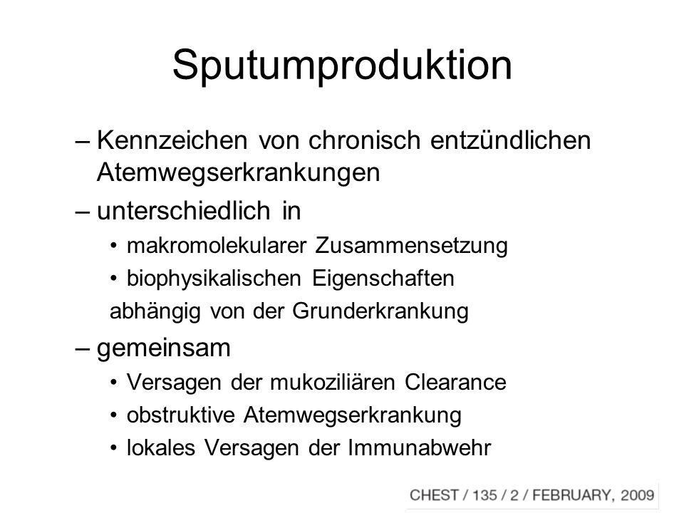 Sputumproduktion Kennzeichen von chronisch entzündlichen Atemwegserkrankungen. unterschiedlich in.