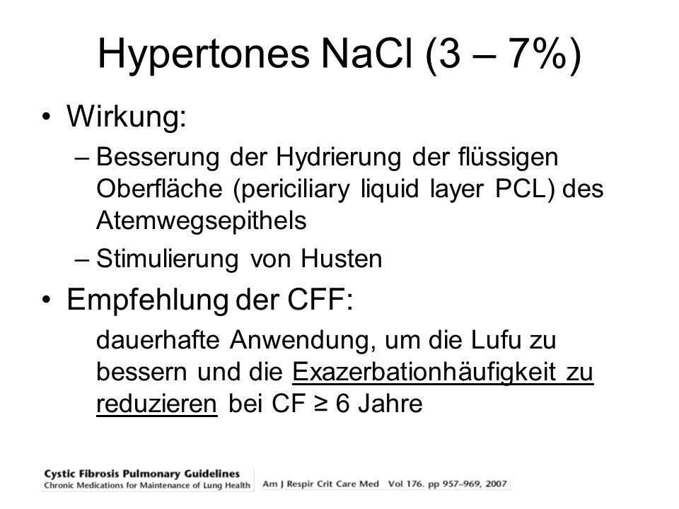 Hypertones NaCl (3 – 7%) Wirkung: Empfehlung der CFF: