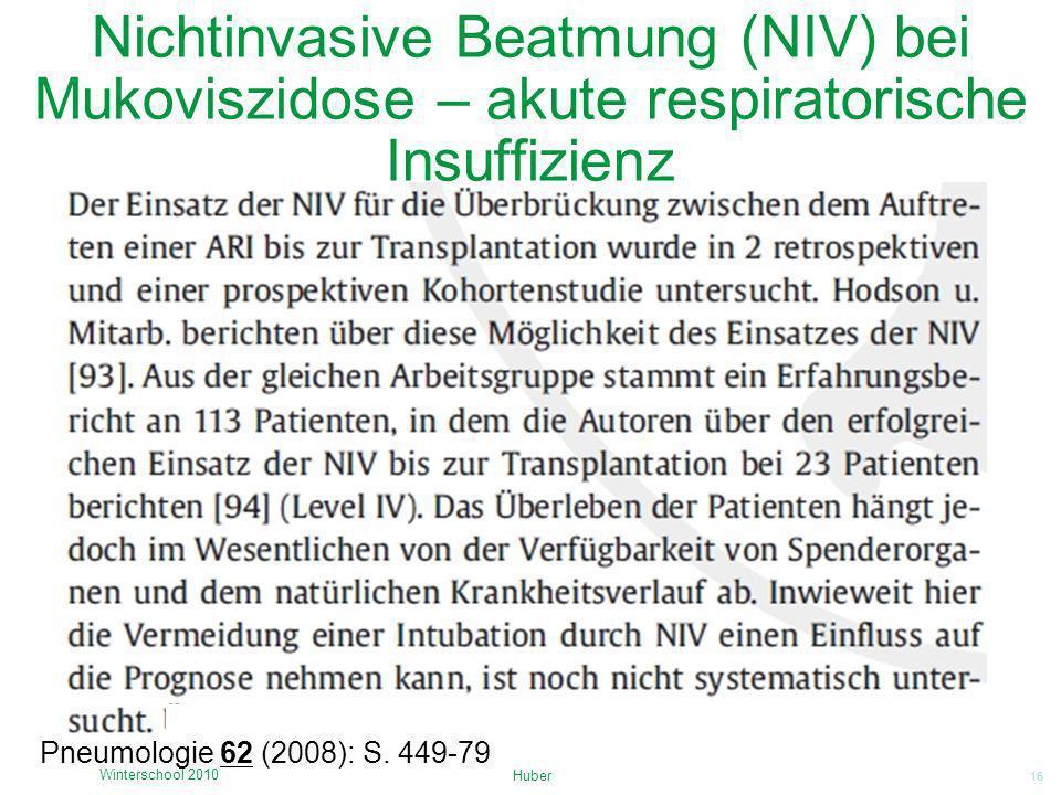 Nichtinvasive Beatmung (NIV) bei Mukoviszidose – akute respiratorische Insuffizienz