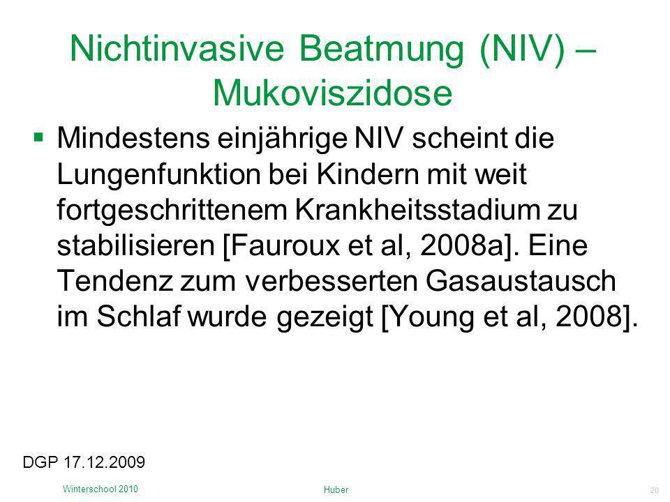 Nichtinvasive Beatmung (NIV) – Mukoviszidose