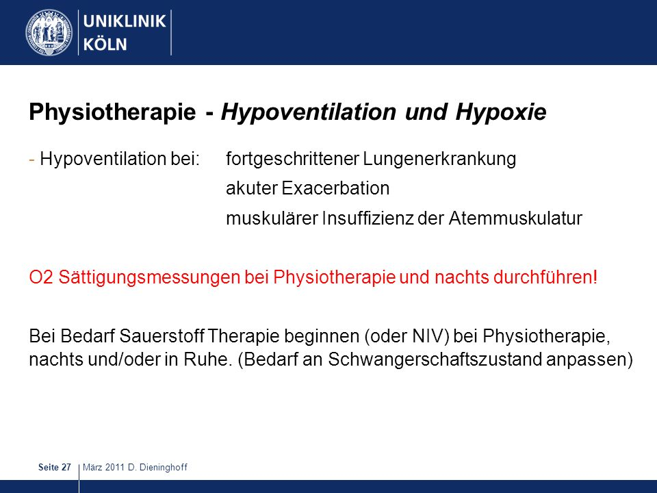 Physiotherapie - Hypoventilation und Hypoxie