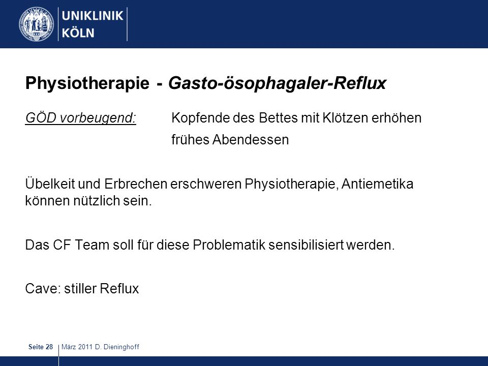 Physiotherapie - Gasto-ösophagaler-Reflux
