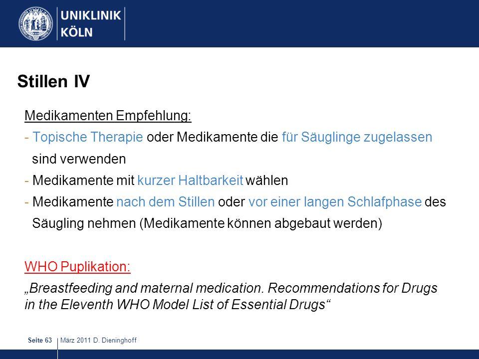 Stillen IV Medikamenten Empfehlung: