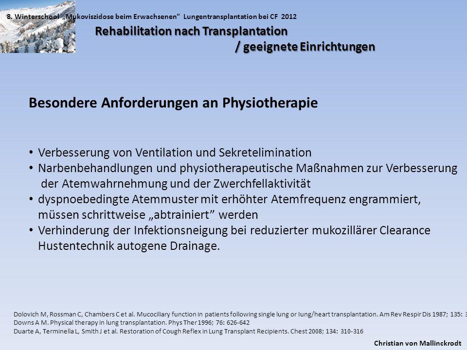 Besondere Anforderungen an Physiotherapie