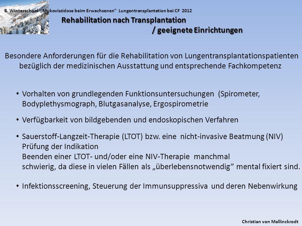 Rehabilitation nach Transplantation / geeignete Einrichtungen