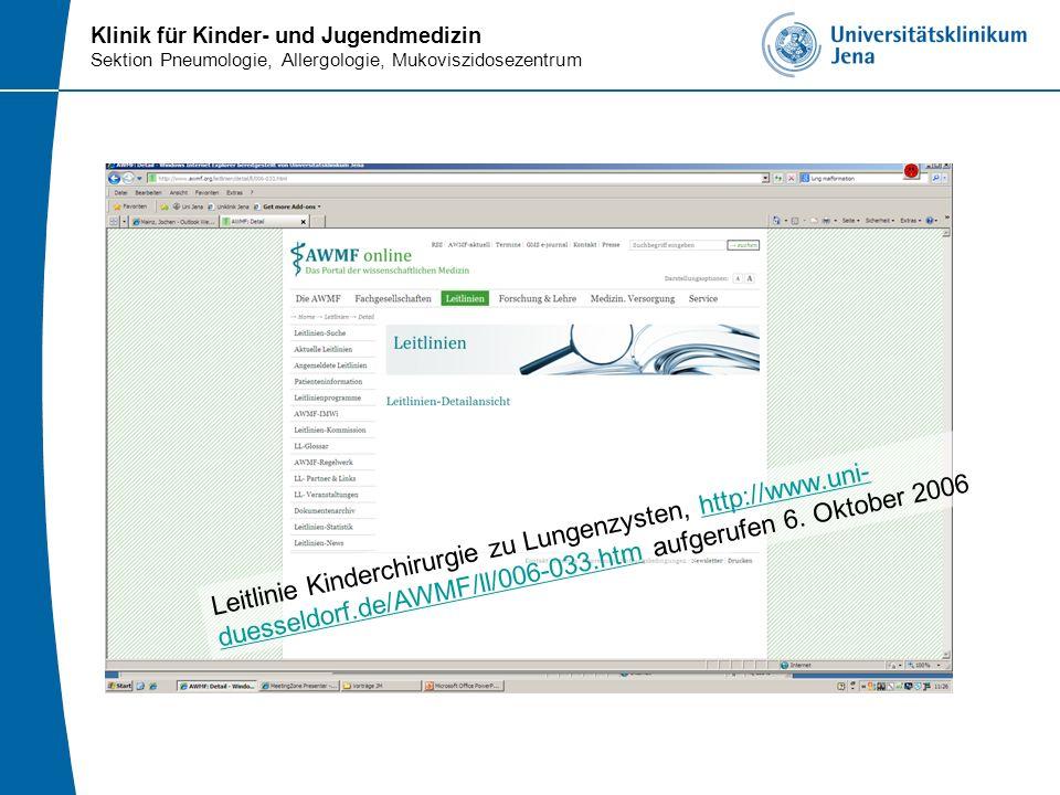 Leitlinie Kinderchirurgie zu Lungenzysten, http://www. uni-duesseldorf